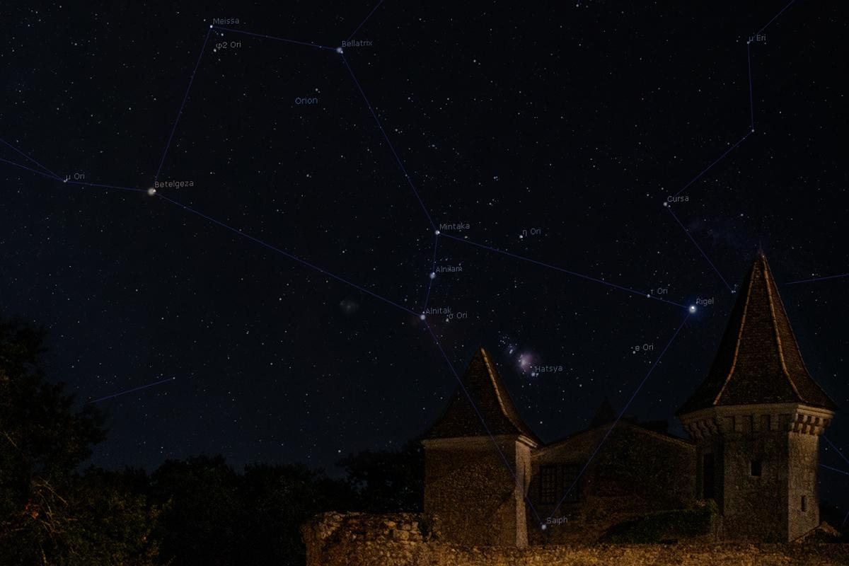Mapa Oriona nałożona nazdjęcie