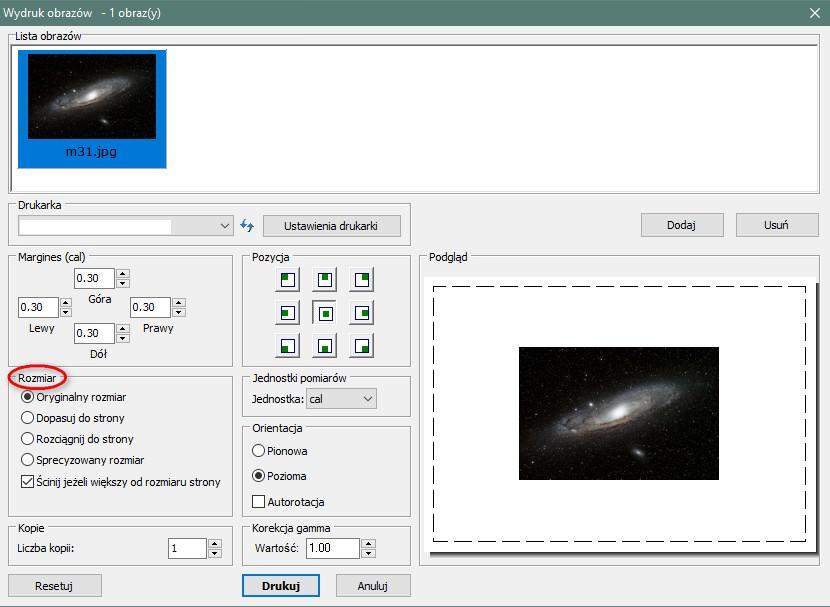 Drukowanie zdjęcia wprogramie FastStone Image Viewer